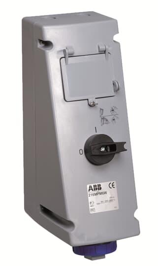 ABB 216MPM4W Schaltbare Wandsteckdose, 16 A 4h, IP67, 2P+E, mit LSS 2CMA167948R1000