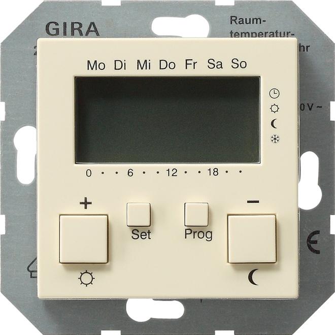 Gira RTR 230 V Uhr + Kühlfunktion System 55 Cremeweiß 237001