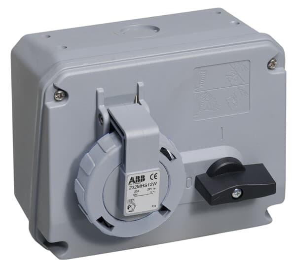 ABB 216MHS1W Schaltbare Wandsteckdose, 16 A 1h, IP67, 2P+E 2CMA167804R1000