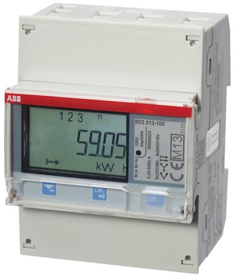 """ABB B23 313-100 Drehstromzähler, M-Bus """"Silber"""", 3 Phasen, Direktanschluss 65A 2CMA100170R1000"""
