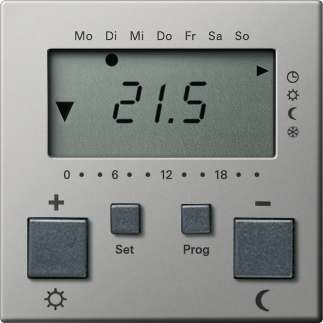 Gira RTR 230 V Uhr + Kühlfunktion System 55 Edelstahl 2370600