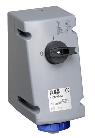 ABB 216MVS9W Schaltbare Wandsteckdose, 16 A 9h, IP67, 2P+E 2CMA167825R1000