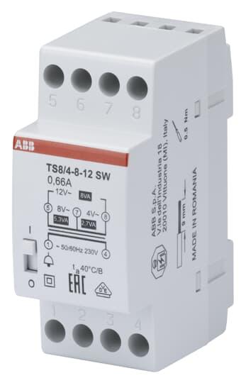 ABB TS8/4-8-12SW Klingeltrafo 230V 8VA,4-8-12V,EIN/AUS Schalter 2CSM081022R0811