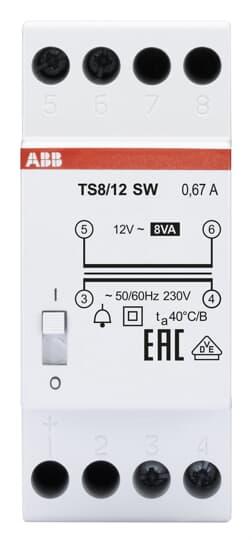 ABB TS8/12SW Klingeltrafo 230V 8VA,12V,EIN/AUS Schalter 2CSM081402R0811