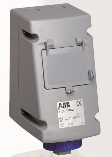 ABB 216RPM12W CEE-Aufputz-Wandsteckdose, 16 A 12h, IP67, 2P+E, mit LSS 2CMA168199R1000