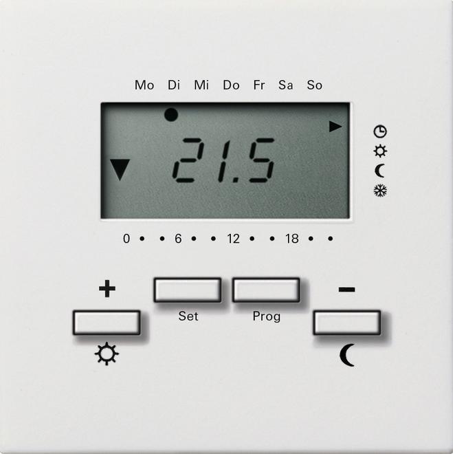 Gira RTR 230 V Uhr + Kühlfunktion Flächenschalter Reinweiß 2370112