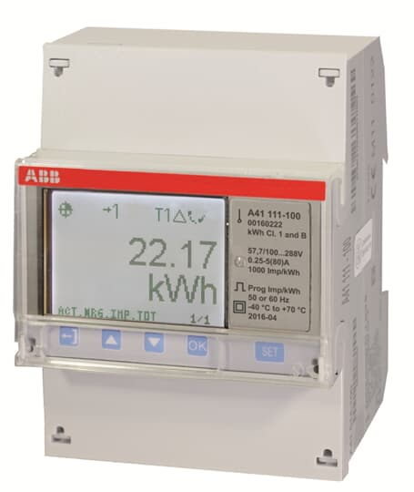 "ABB A41 111-100 Wechselstromzähler ""Stahl"", 1 Phase, Direktanschluss 80A 2CMA170554R1000"