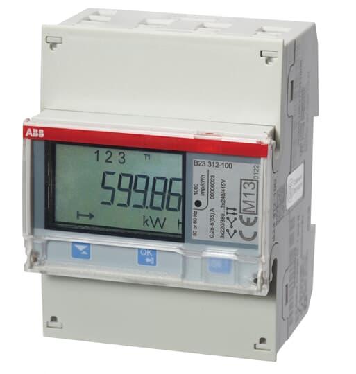 """ABB B23 312-100 Drehstromzähler, RS485 """"Silber"""", 3 Phasen, Direktanschluss 65A 2CMA100169R1000"""