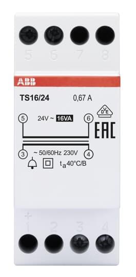 ABB TS16/24 Klingeltransformator 16VA, 24VAC 2CSM228615R0812