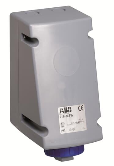 ABB 216RL6W CEE-Aufputz-Wandsteckdose, 16 A 6h, IP67, 2P+E, 200-250 V, 50+60Hz, blau 2CMA168458R1000