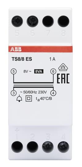 ABB TS 8/8 ES Klingeltransformator 8VA, 8VAC, Energy Saving 2CSM228595R0812