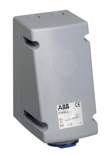 ABB 216RL6 CEE-Aufputz-Wandsteckdose, 16 A, IP44 6h, 2P+E, 200-250 V, 50+60Hz, blau 2CMA168388R1000