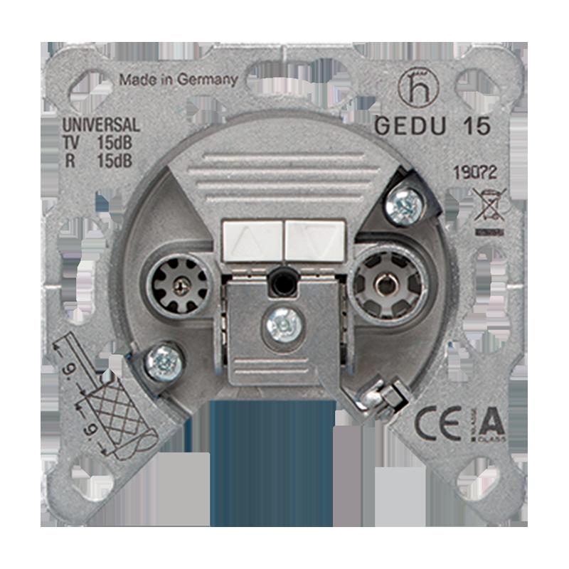 Jung 2-Loch Universal-Super-Breitband-Dose, 15,0 dB, Durchgangsdose GEDU15