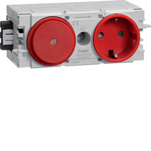 Hager Steckdose+Schalter Wago C-Profil rot GS11003020