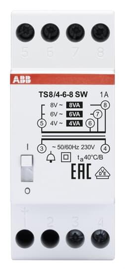 ABB TS8/4-6-8SW Klingeltrafo 230V 8VA,4-6-8V,EIN/AUS Schalter 2CSM081012R0811