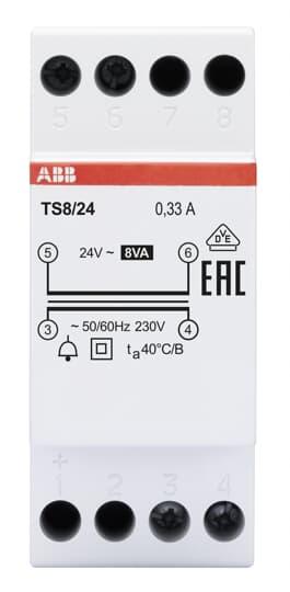 ABB TS8/24 Klingeltransformator 8VA, 24VAC 2CSM228675R0812