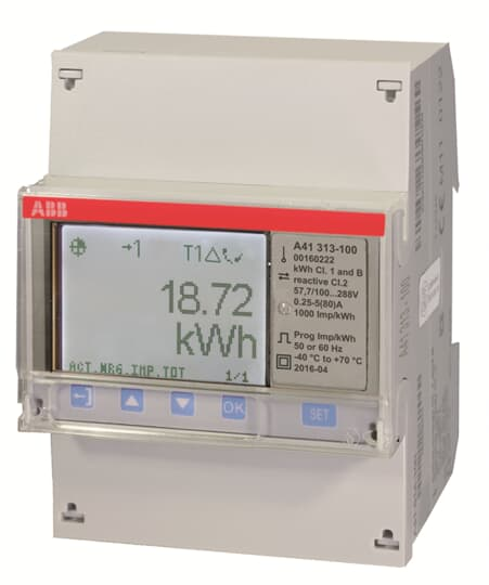 "ABB A41 313-100 Wechselstromzähler, M-Bus ""Silber"", 1 Phase, Direktanschluss 80A 2CMA170504R1000"