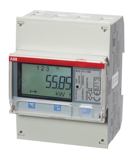 """ABB B23 311-100 Drehstromzähler """"Silber"""", 3 Phasen, Direktanschluss 65A 2CMA100168R1000"""