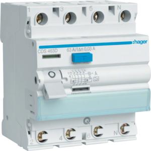 Hager FI-Schalter 4P 6kA 40A 30mA Typ A QC CDS440D