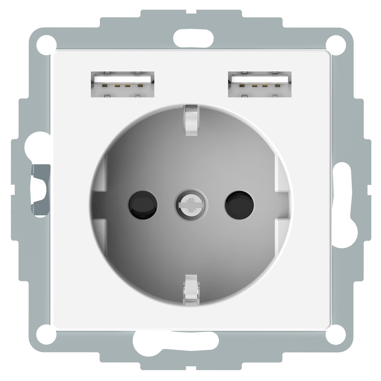 Elso Steckdose Berührungsschutz mit USB Ladegerät 16A 250V DIN 49440 JOY reinweiss ELG365344