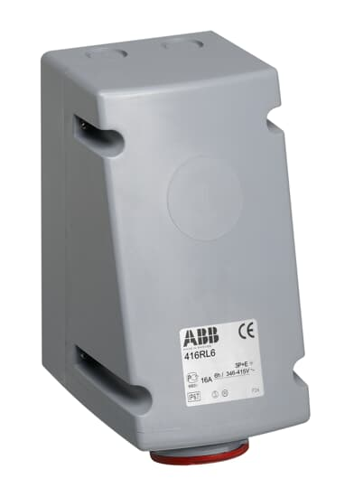 ABB 216RL9 CEE-Aufputz-Wandsteckdose, 16 A, IP44 6h, 3P+E, 600-690 V, 50+60Hz, schwarz 2CMA168389R1000