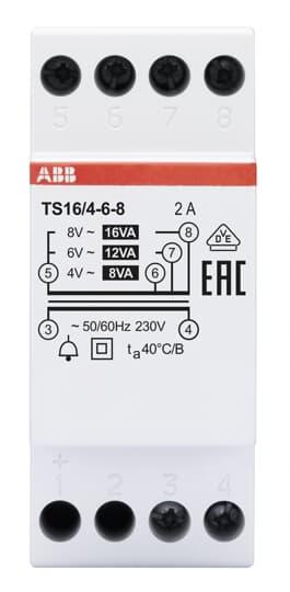 ABB TS16/4-6-8 Klingeltransformator 16VA, 4-6-8VAC 2CSM228655R0812