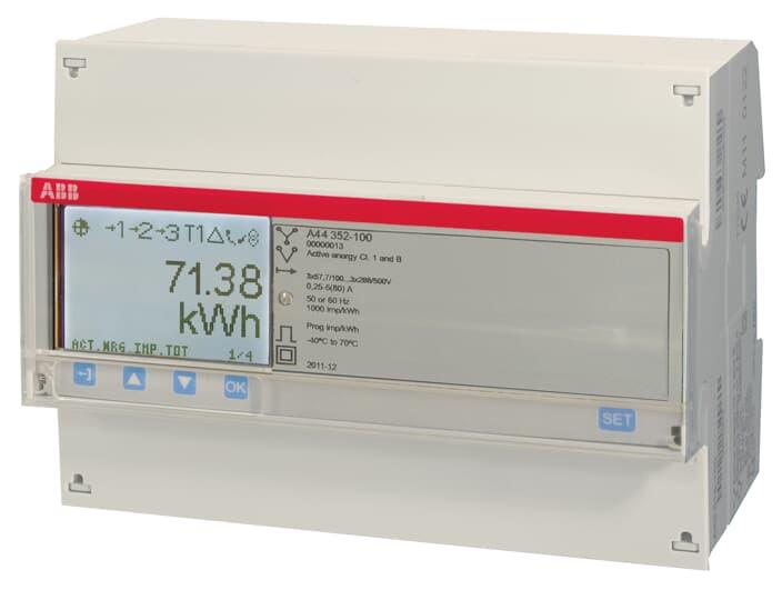 """ABB A44 352-100 Messwandlerzähler, RS485 """"Silber"""", 3 Phasen, Wandleranschluss 6A 2CMA170537R1000"""