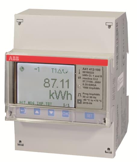 """ABB A41 412-100 Wechselstromzähler, RS485 """"Gold"""", 1 Phase, Direktanschluss 80A 2CMA170505R1000"""